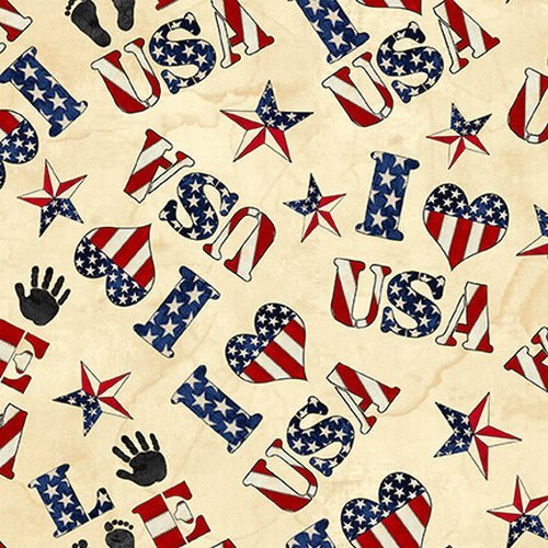 American Honor II from Blank Quilting #9675 41- Ivory USA Words