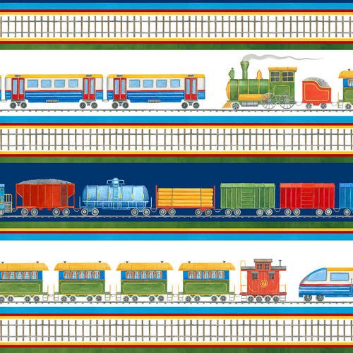 Going Places from Blank Textiles #9839 01- Train Border Stripe