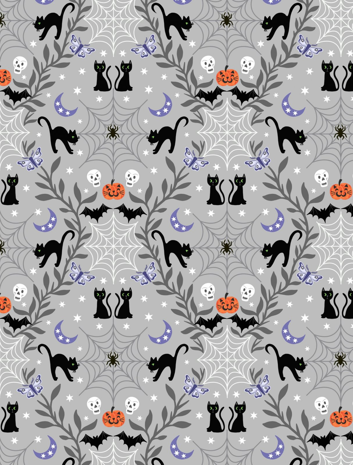 Castle Spooky from Lewis and Irene #A576 1- Cats, Bats and Skeletons on Light Grey