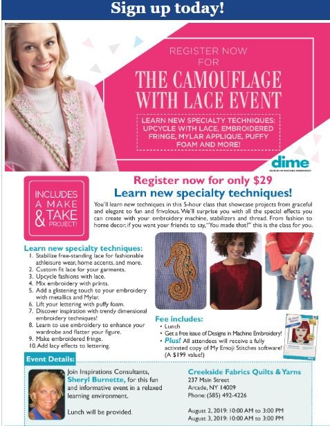 dime Lace and camoflage event at creekside fabrics, arcade ny