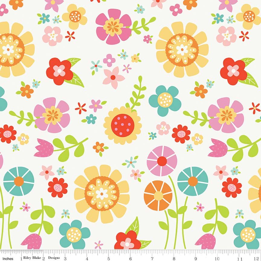 Bloom Where You're Planted Flannel F7159 Color: White