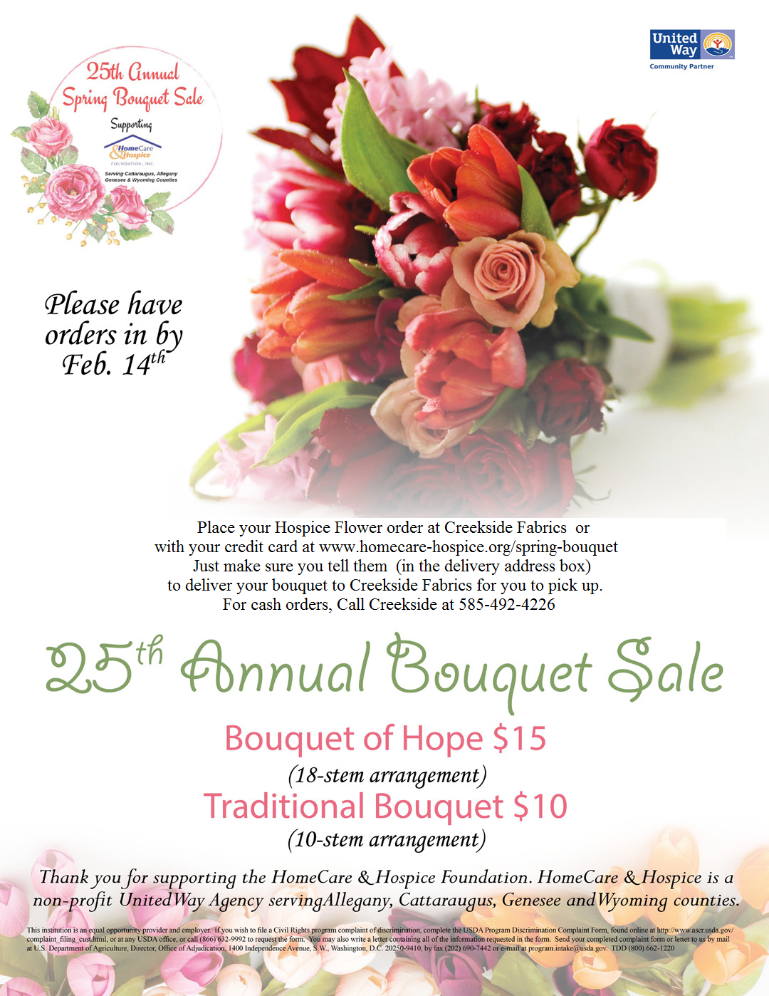 hospice flower bouquets 2019 order info at creekside fabrics arcade, ny