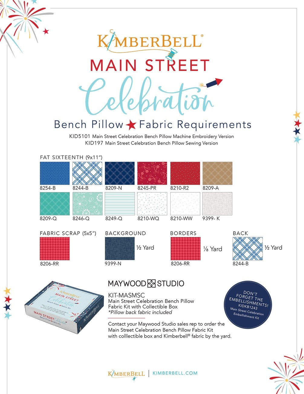 Main Street Celebration Bench Pillow Fabric Kit from Kimberbell