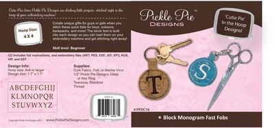 Block Monogram Fast Fobs by Pickle Pie Designs