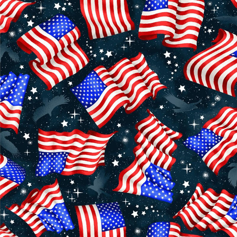 Red, White, and Blue from Oasis Fabrics #OA604581-Navy- Flags and Stars