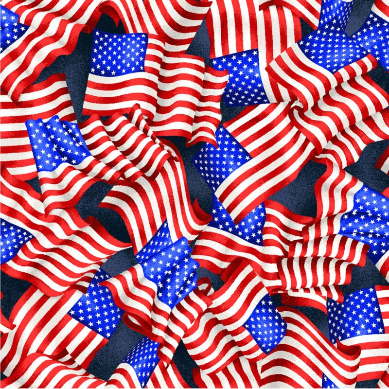 Red, White, and Blue from Oasis Fabrics #OA604591- Navy- Small Wavy Flags
