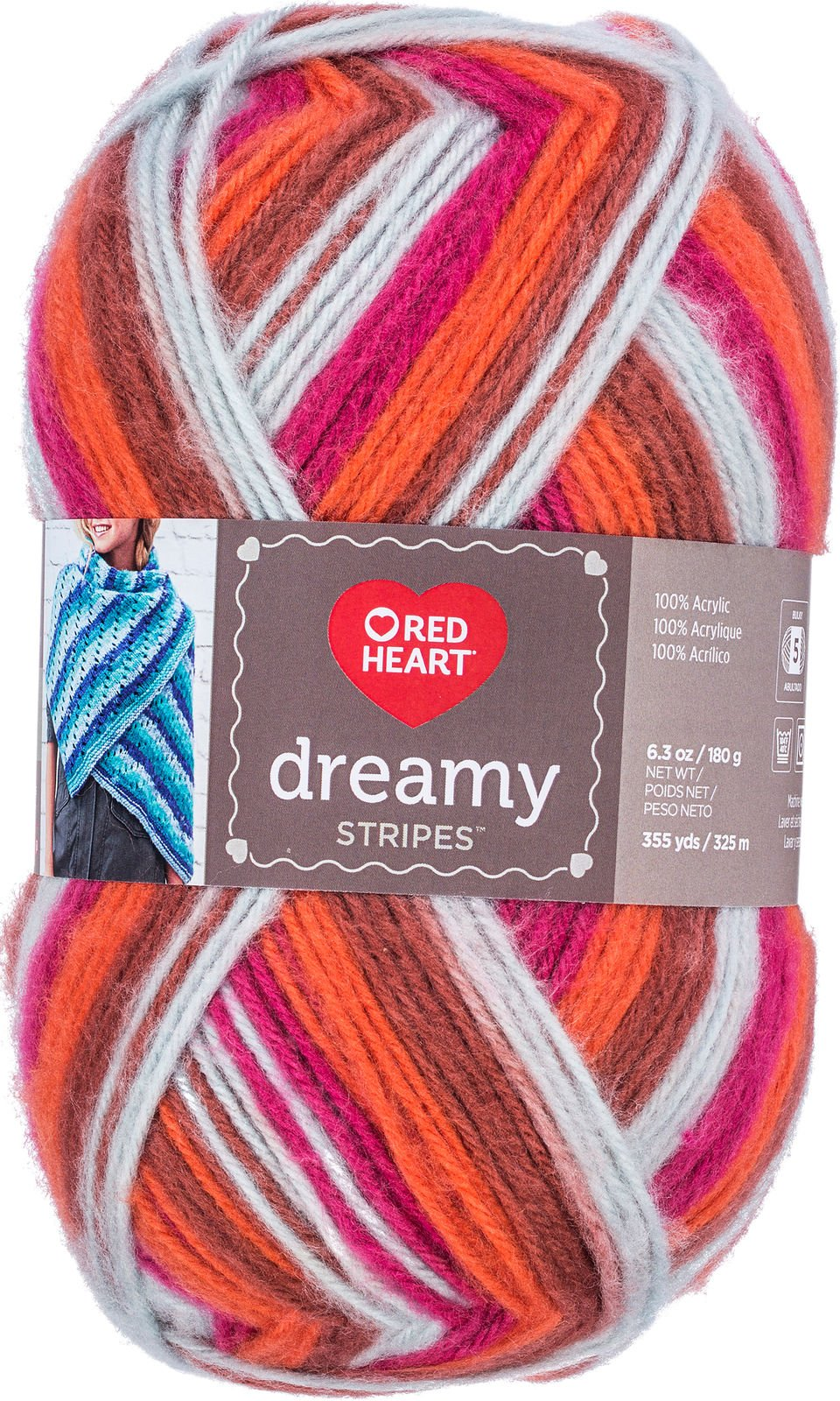 Red Heart Dreamy Stripes  9354 Sunset