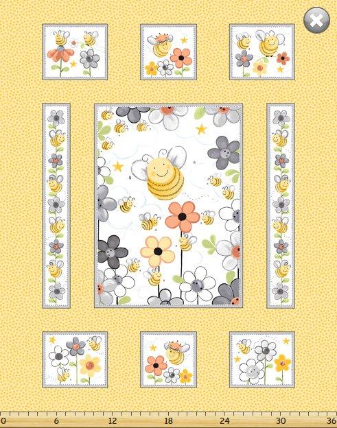 Susybee Sweet Bees Panel #SB20360-310- Yellow