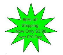 50% off Shipping, Now $3.98, above $70.= Free