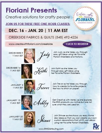 Creekside Fabrics and Floriani present Free one hour classes