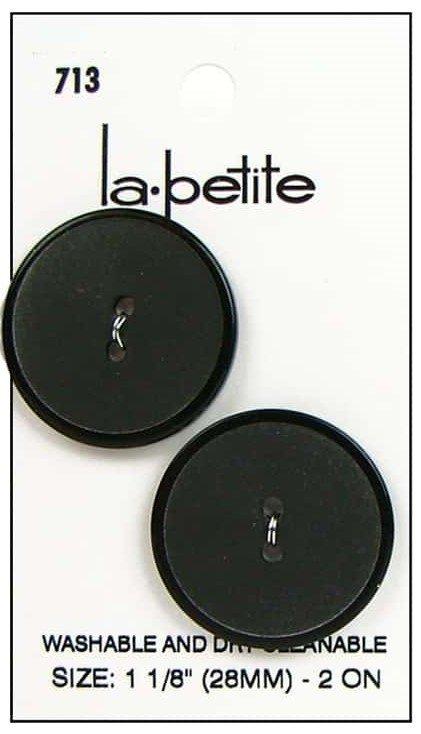 2 Hole Blk Button 713 1 1/2