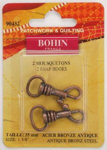 90432 Snap Hooks 1 3/8 Antique Brass - pack of 2