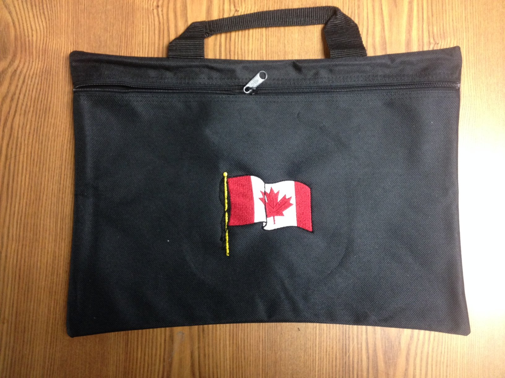 Canadian - Black nylon zippered portfolio bag