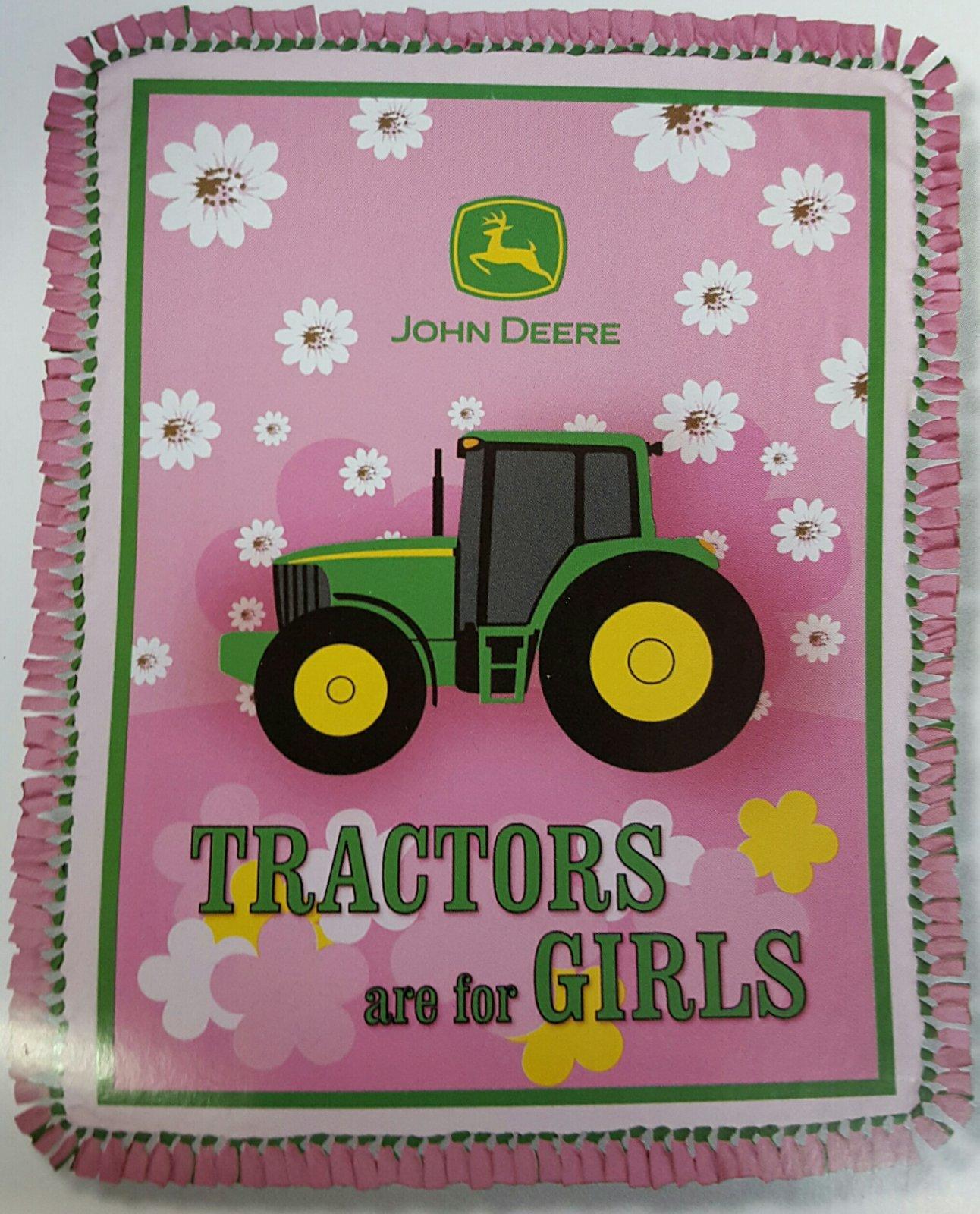 John Deere Tractors are for Girls Fleece Throw Kit (Pink)