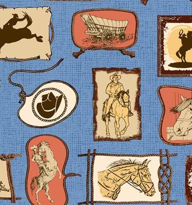 Riding Westward Western Print (Blue) (W4960)