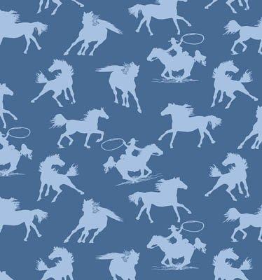 Riding Westward Horses (Blue) (W4962)