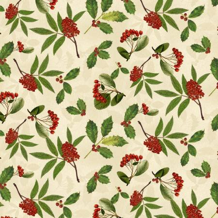 Festive Forest Cream Holly + Berries (F10319)