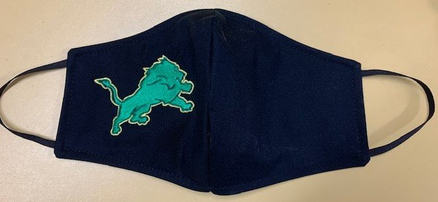 Embroidered Dublin Lion Face Mask