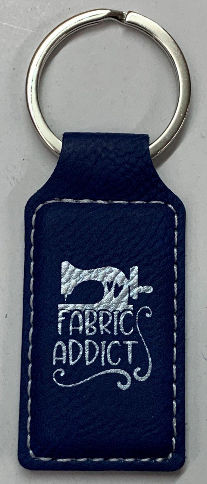 Blue/Silver Leatherette Keychain - Fabric Addict