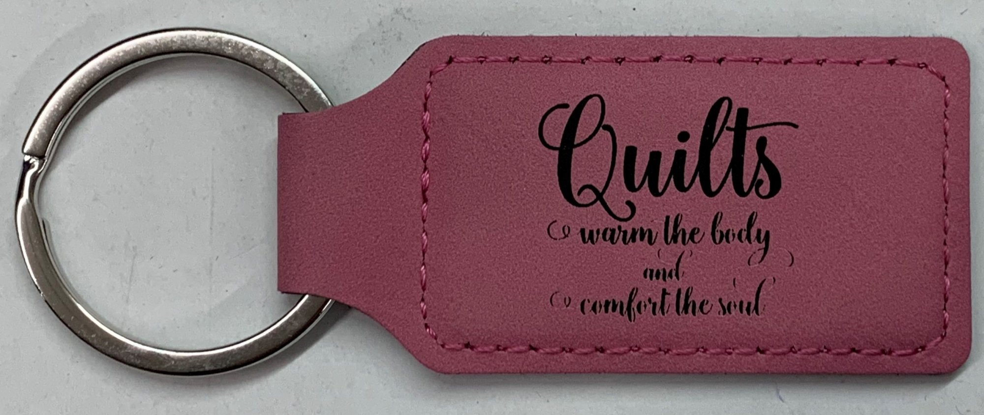 Pink Leatherette Keychain - Quilts Warm the Body