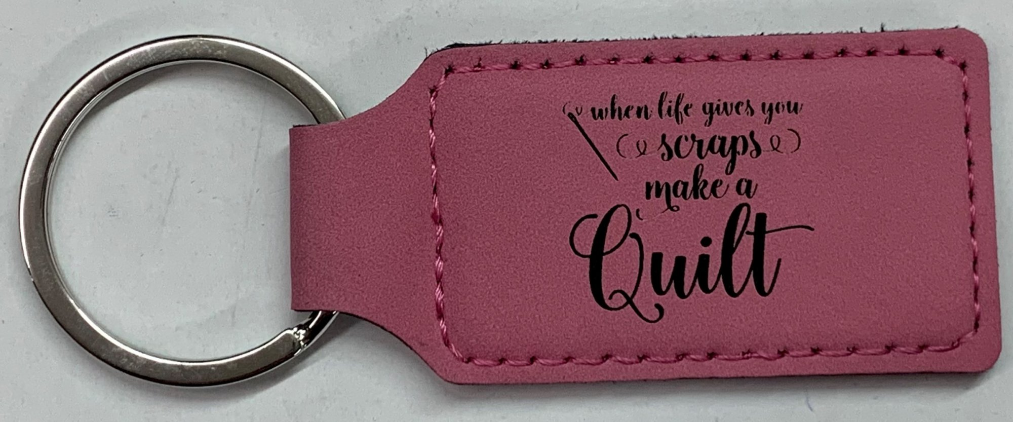 Pink Leatherette Keychain - When Life Gives You Scraps