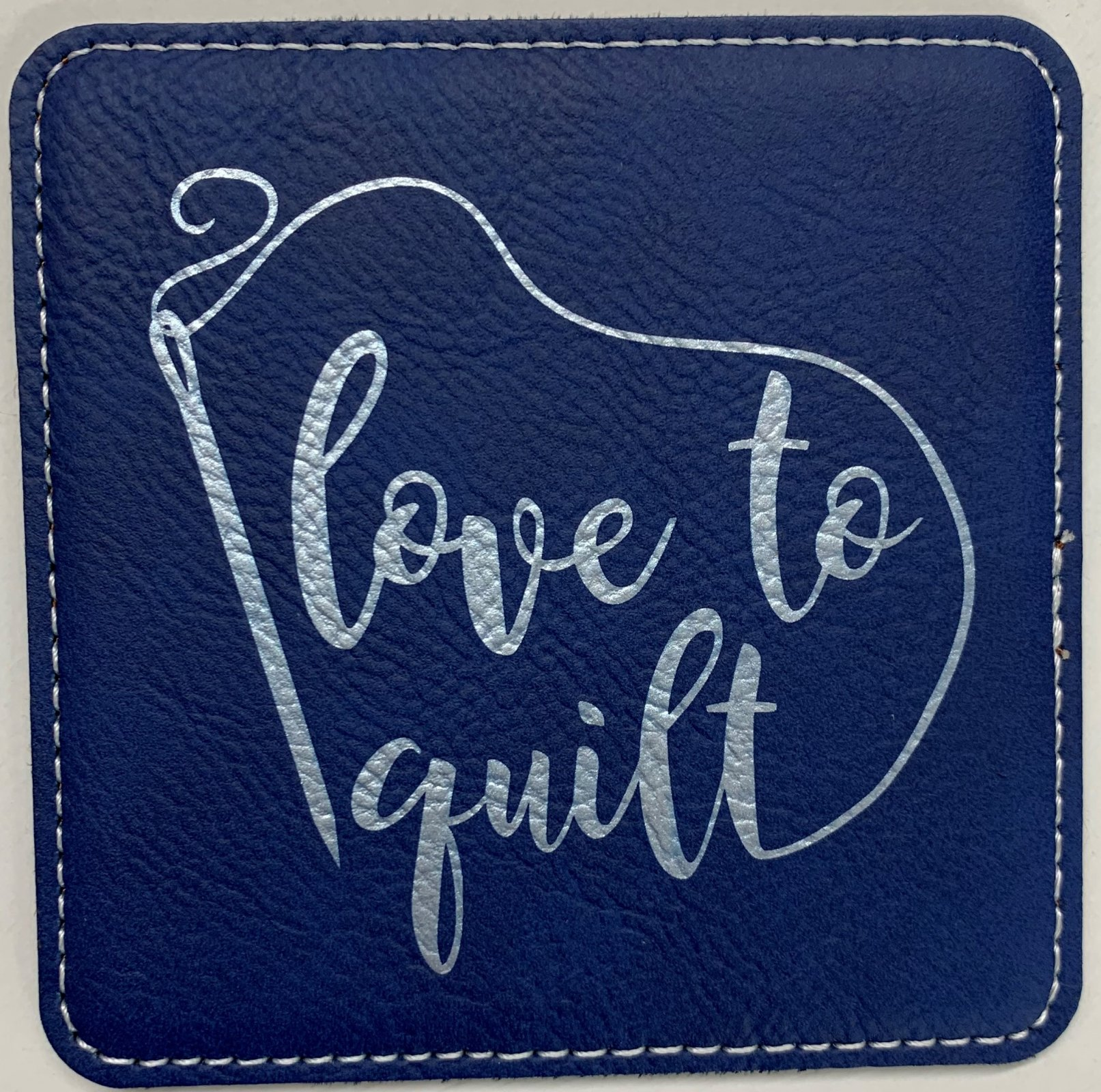 Blue Square Leatherette Coaster - Love to Quilt