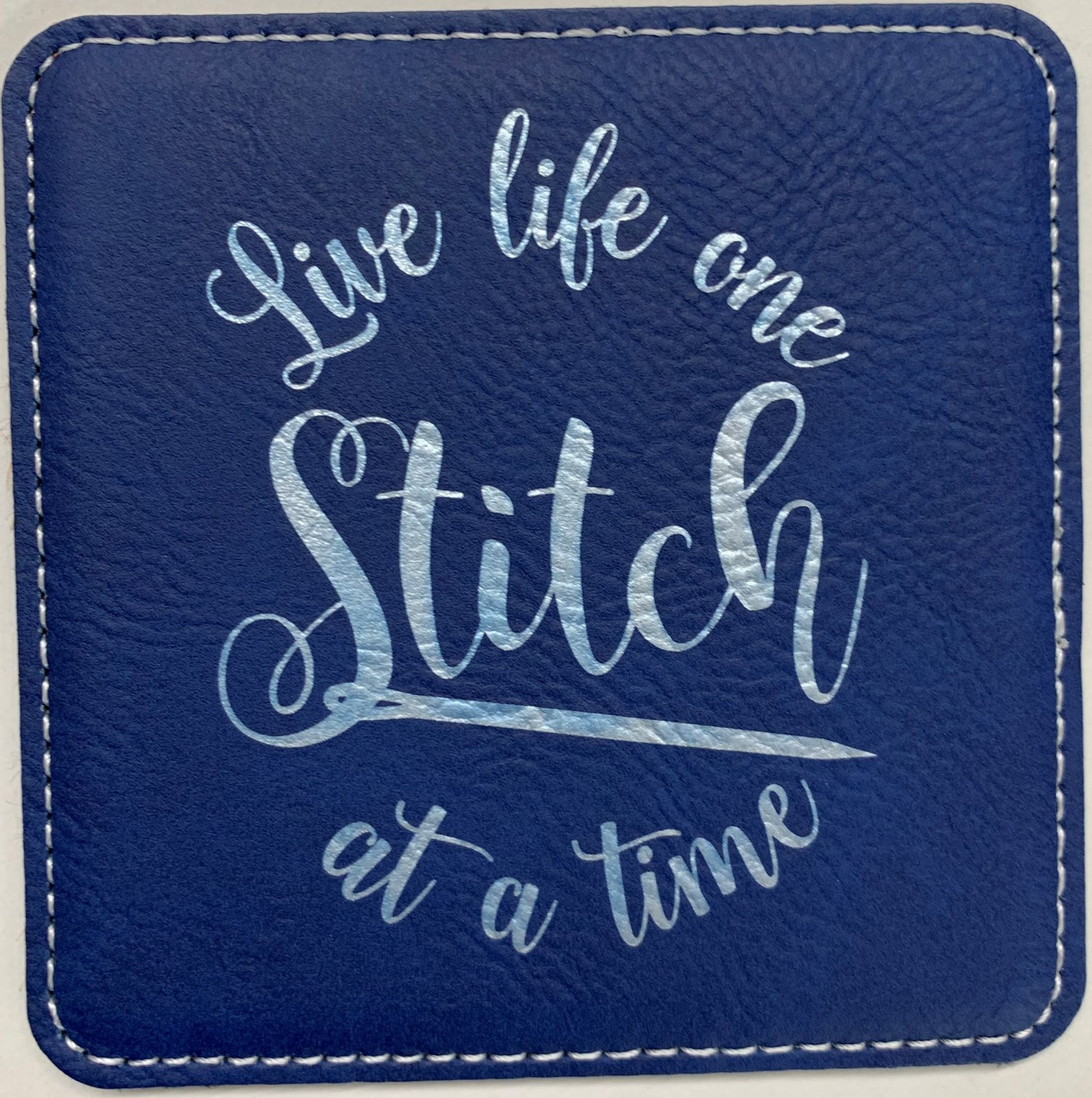 Blue Square Leatherette Coaster - Live Life One Stitch at a Time