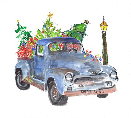 Christmas Truck with Holiday Trees (PE092)
