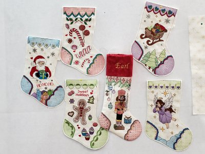 Six of the 8 stockings