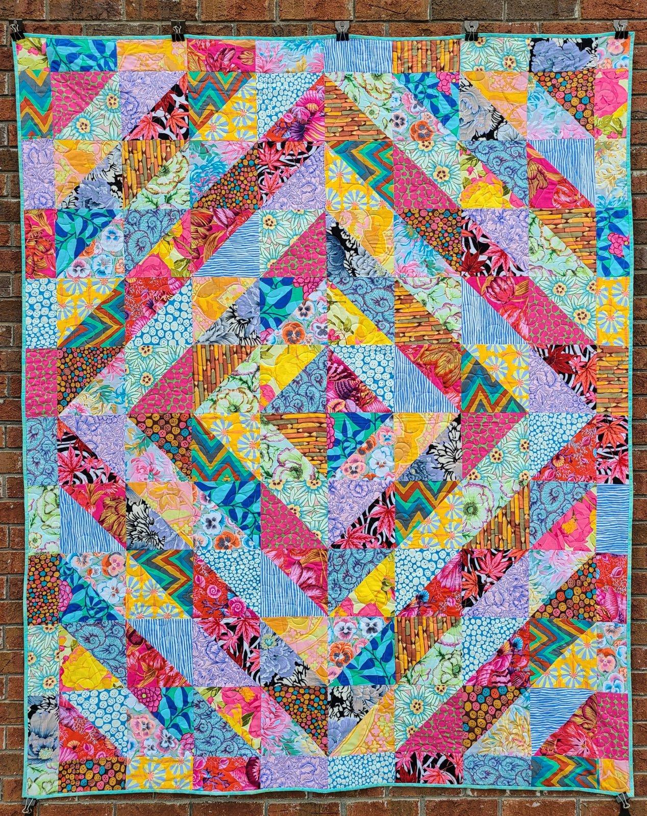 Drayton Hall Quilt Kit 63x77 - Multicolor featuring Kaffe Fassett fabrics