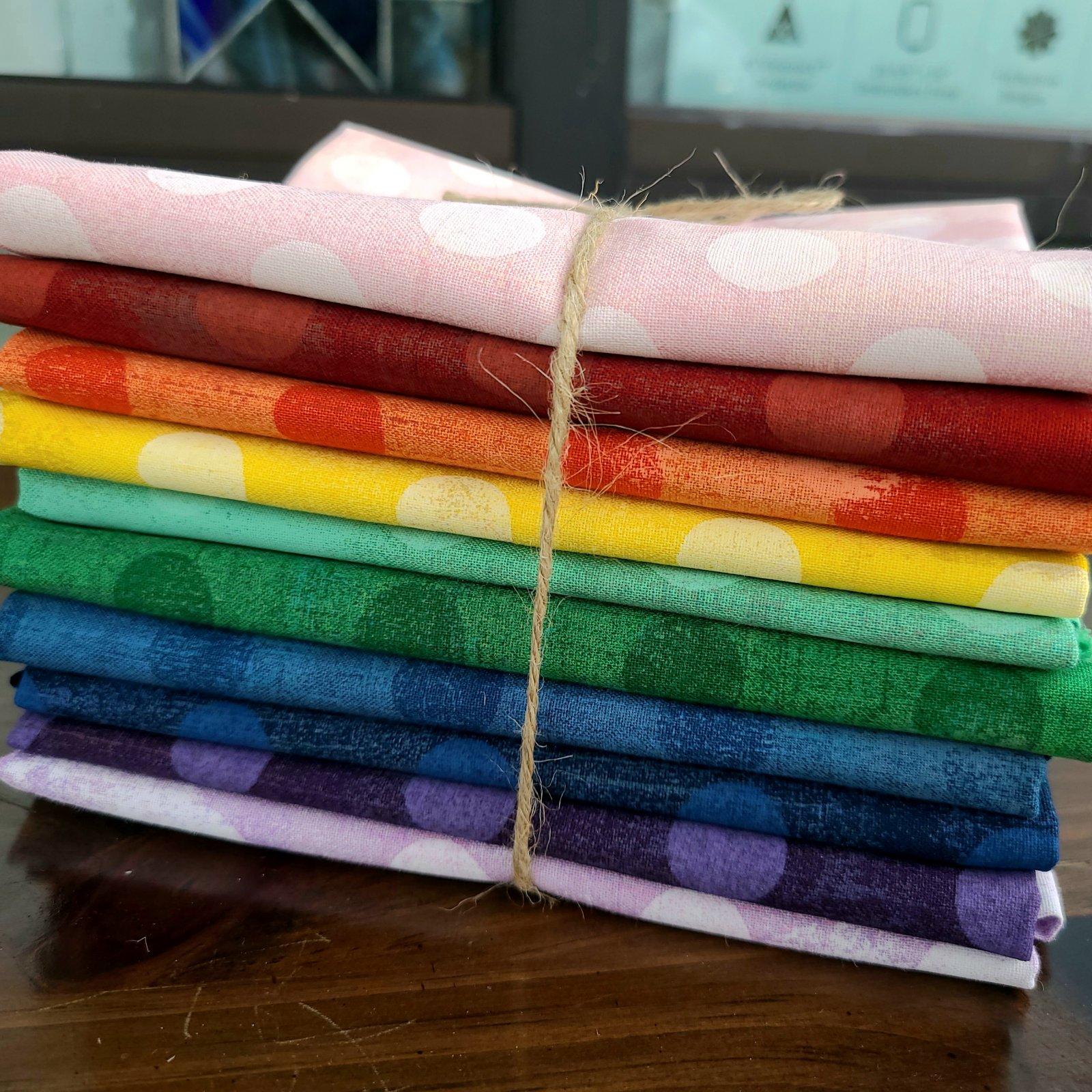 Moda - Grunge Bundle (10) 1/2 yd cuts Polka Dot Rainbow