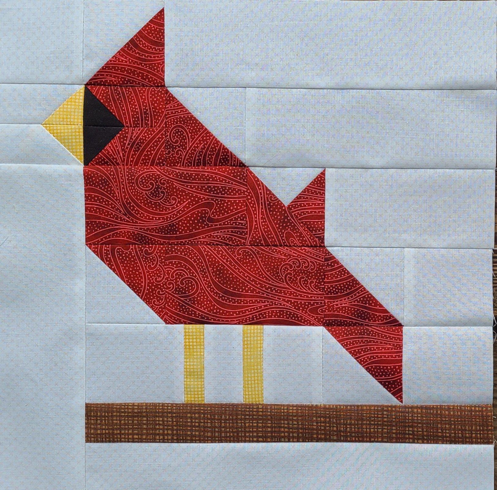 Carolina Cardinal - 6 finished Free block pattern