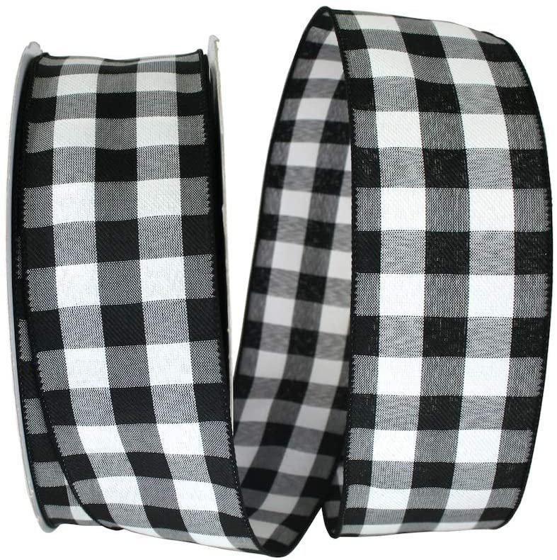 2-1/2 Black & White Buffalo Check Gingham Wired Ribbon