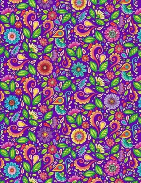 RF Small Floral & Scroll Purple