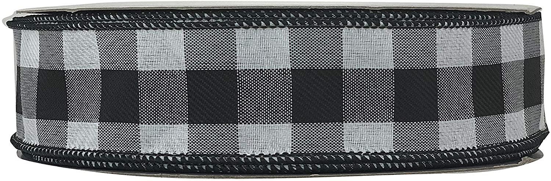 1-1/2 Black & White Buffalo Check Gingham Wired Ribbon