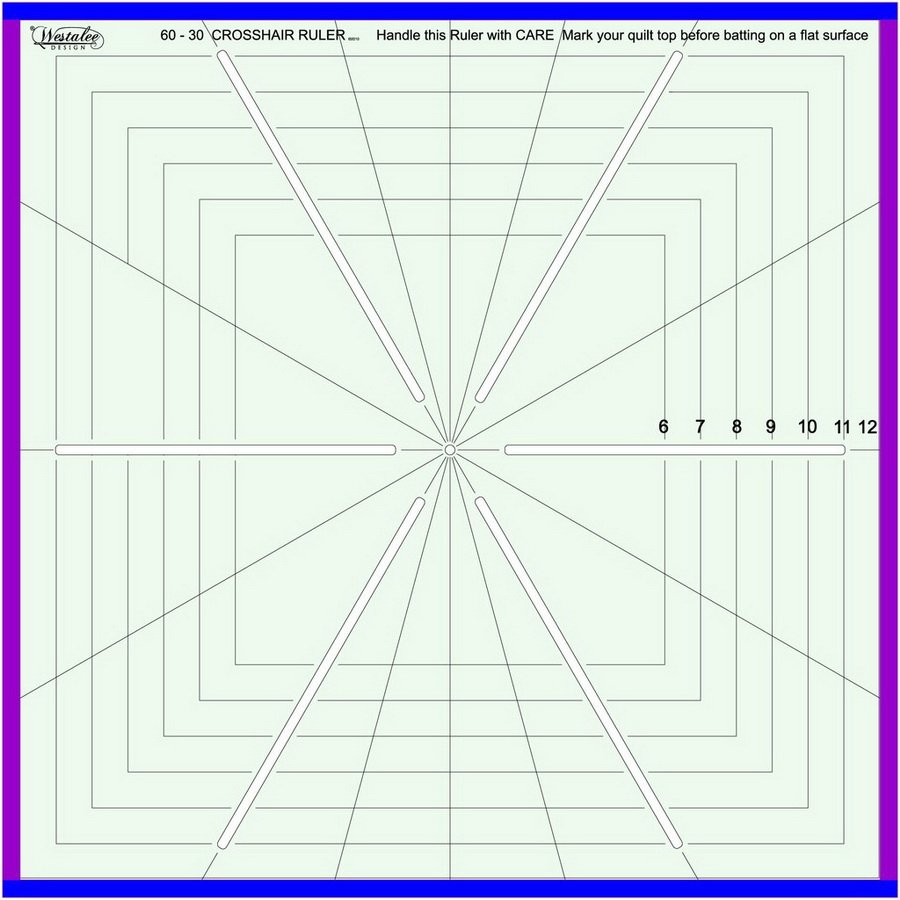 Westalee 6 Point Crosshair Ruler 2in-8.5in Hexagon Patterns