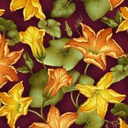Henry Glass - Welcome Harvest - Aubergine Pumpkin Flower