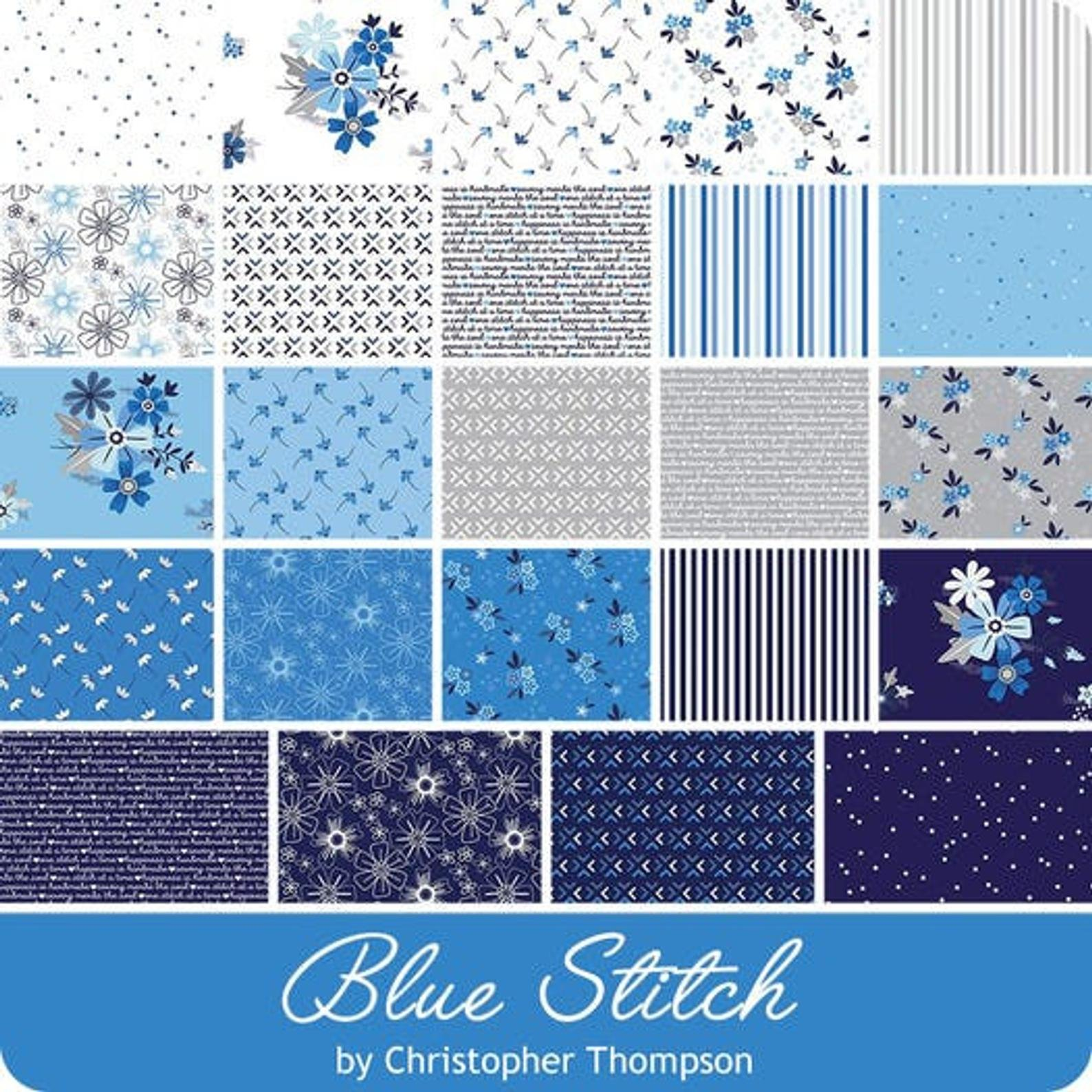 Riley Blake - Blue Stitch 10in Squares, 42pcs