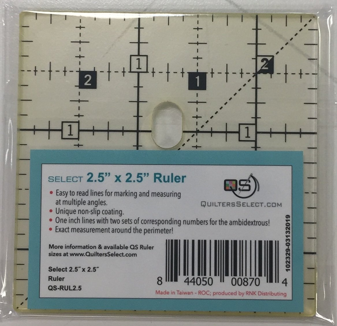 Quilters Select 2.5 square ruler