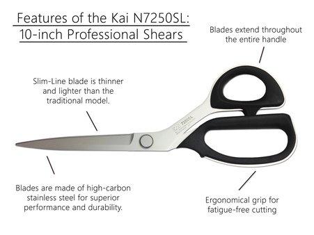 Kai 7250 10 Slim Line Scissors