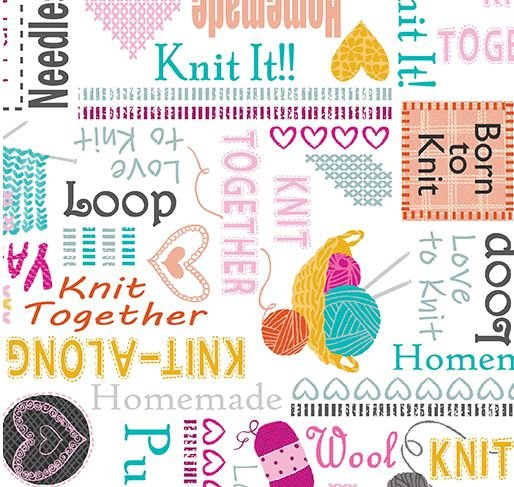 Knit Together Words White