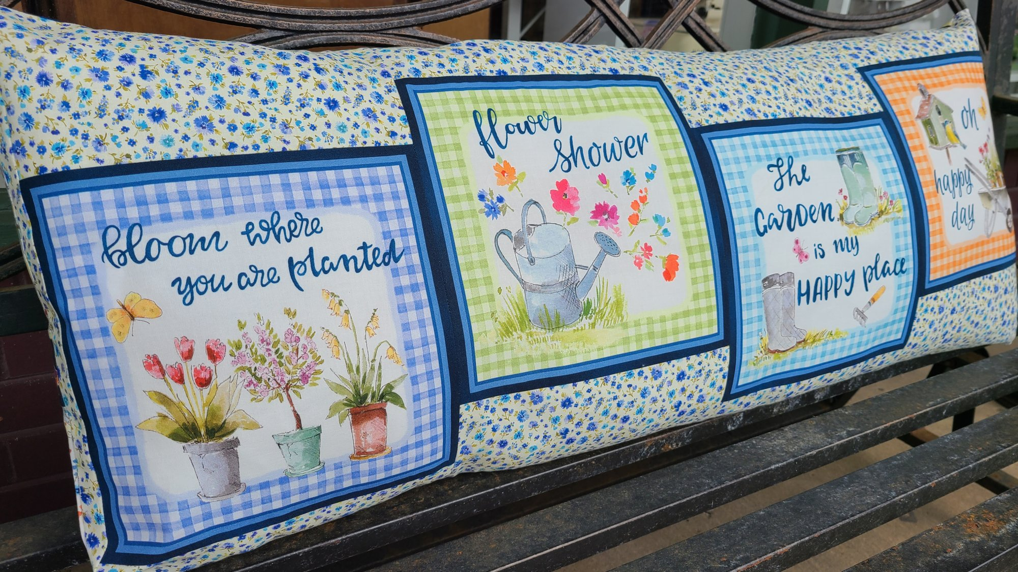 In the Garden bench pillow fabric kit w/ pattern