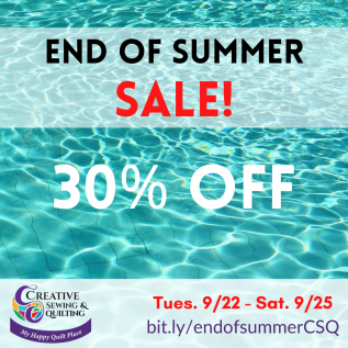 end of summer sale fabric and kits