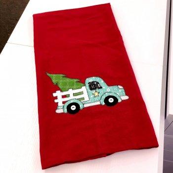 christmas delivery on tea towel