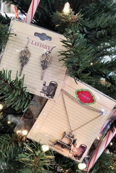 sewing jewelry on christmas tree