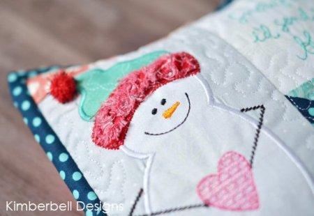 snowflake kisses pillow up close