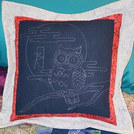 Sashiko owl pillow