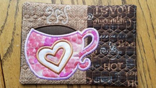 coffee heart mug rug