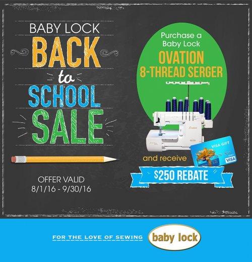 Baby Lock Ovation rebate offer Aug-Sep 2016