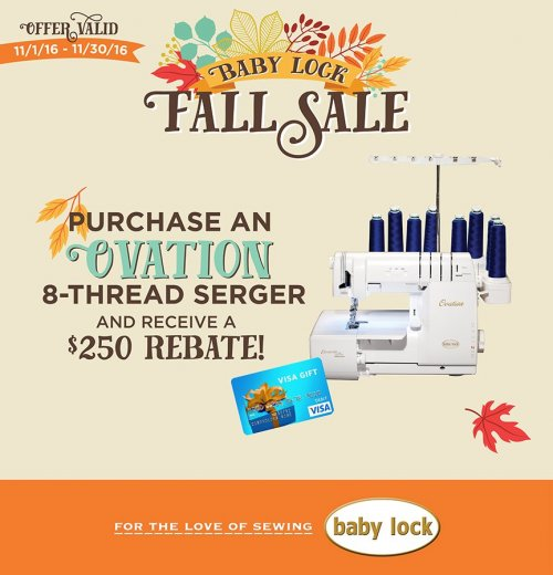 Ovation serger promotion November 2016